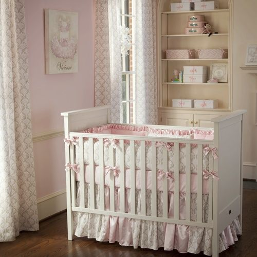 Pink And Taupe Damask Baby Crib Bedding Carousel Designs - Light pink nursery decor