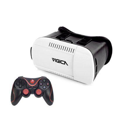Vigica VR2 - Pack de gafas 3D y gamepad, color blanco y negro (importado)