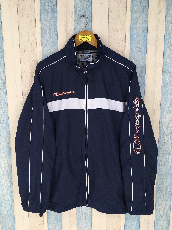 Vintage Champion Windbreaker Jacket Large 90/'s Champion Products Usa Sportswear Champion Hoodie Track Top Black Jacket Size L