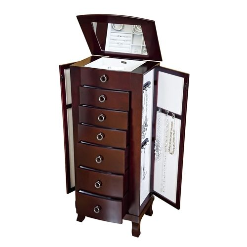 Tall Jewelry Box Cabinet for Women in Cherry Finish Home
