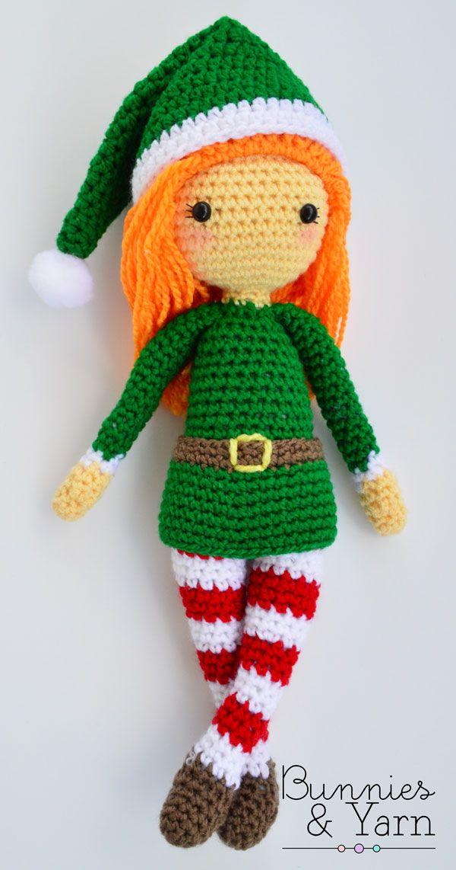 CROCHET PATTERN in English - Edna the Elf Doll - Christmas - 11 in./28 cm. tall - Amigurumi Doll Crochet Toy - Instant PDF Download #instructionstodollpatterns