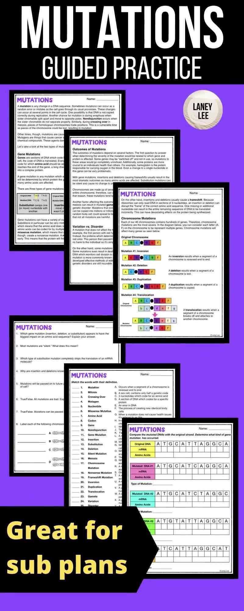 Mutations Guided Reading Worksheets Print Google Versions Video Video Guided Reading Worksheets Middle School Science Resources Reading Worksheets