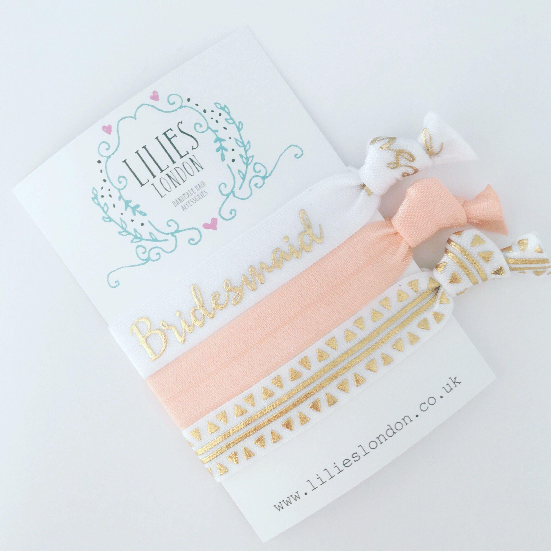 Bridesmaid hair ties, bridesmaid bracelet, hen party favours ...