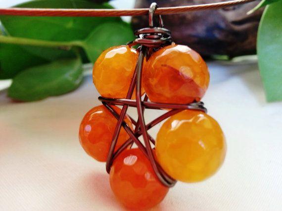 Pentacle, Pentagram, Star Flower Necklace Pendant  Orange Agate Bead Amulet