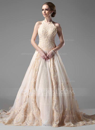 Corte A/Princesa Cabestro La capilla de tren Satén Tul Vestido de novia con Cordón Bordado (002000154)