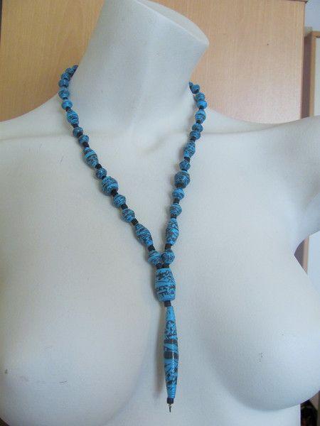 Halskette Lang Papierperlen - blau - handmade | Papierperlen ...