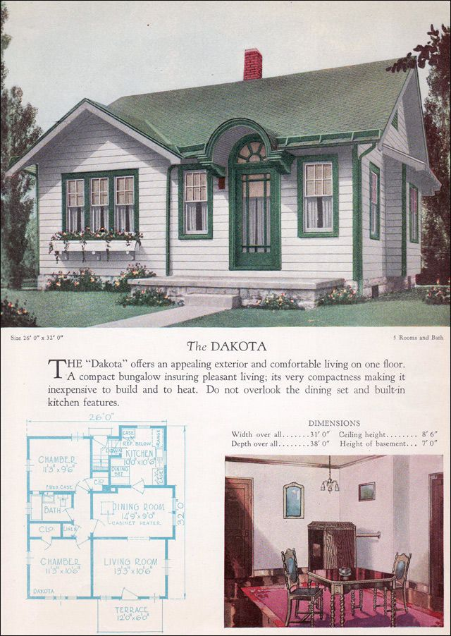 1928 Home Builders Catalog Dakota This Small Cross Gabled Cottage Is Saved From Ho Hum Ness By Its Particularly Dist Cottage Plan House Plans Small House