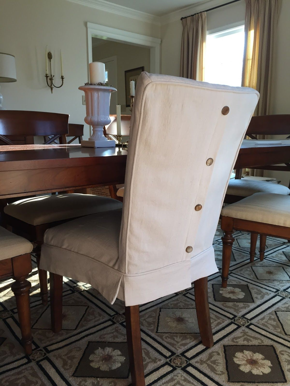 slipcovers dining slipcover with page and hgtv photo neutral chair pleat buttons