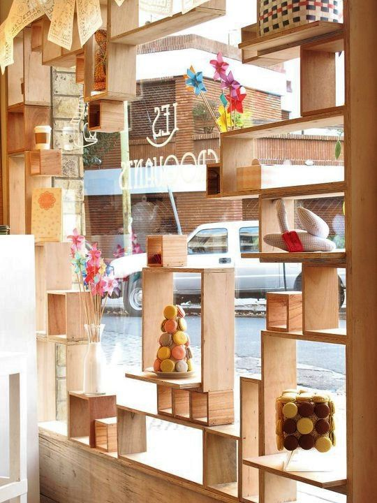 building displays out of cheap materials painted or not rh pinterest com Glass Display Shelves window display bookshelves
