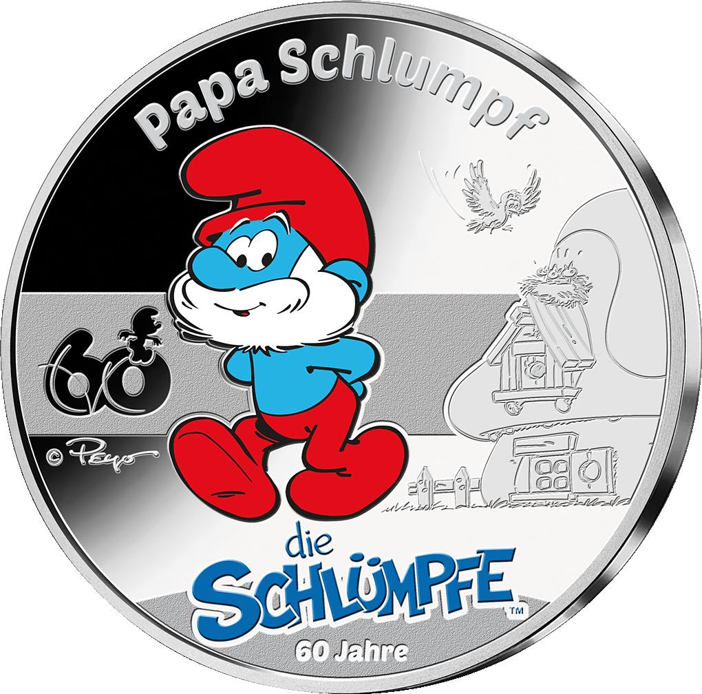 """Die erste offizielle Silber-Kollektion zum 60. Jubiläum der Schlümpfe – Ihre Startlieferung: Silberprägung """"Papa Schlumpf""""!"""