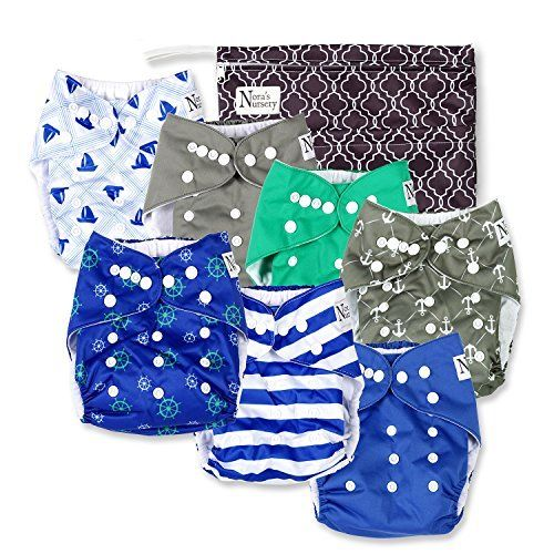 1 Wet Bag by Noras Nursery Unisex Baby Cloth Pocket Diapers 7 Pack 7 Bamboo Inserts