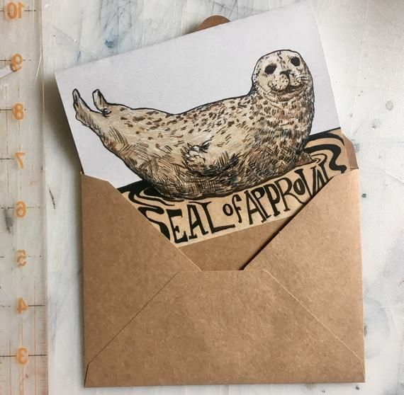 Seal Of Approval Handmade Greeting Card, Blank Card With