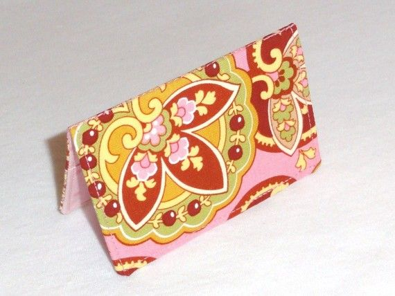 Pink Red and Yellow Floral Paisley Business Card by ShastaBlue, $8.00