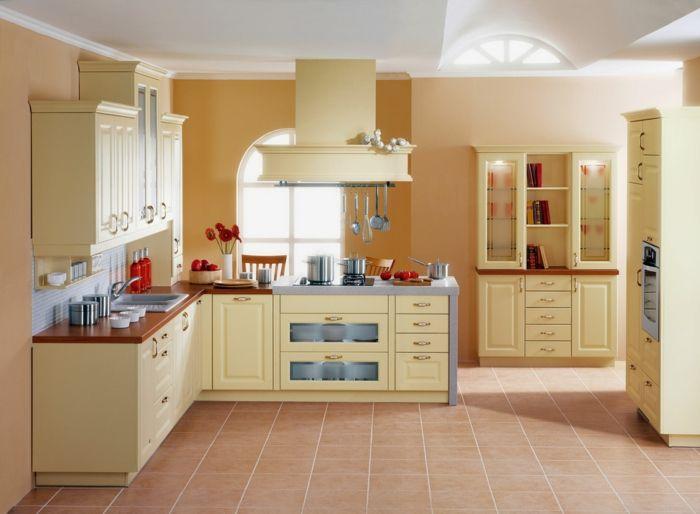 Küchenfronten Streichen ~ Wände streichen ideen küche frisch dezent bodenfliesen blumen