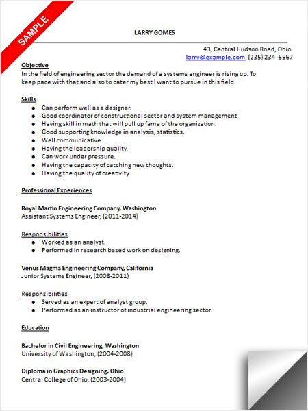 Systems Engineer Resume Examples Systems Engineer Resume Sample  Resume Examples  Pinterest