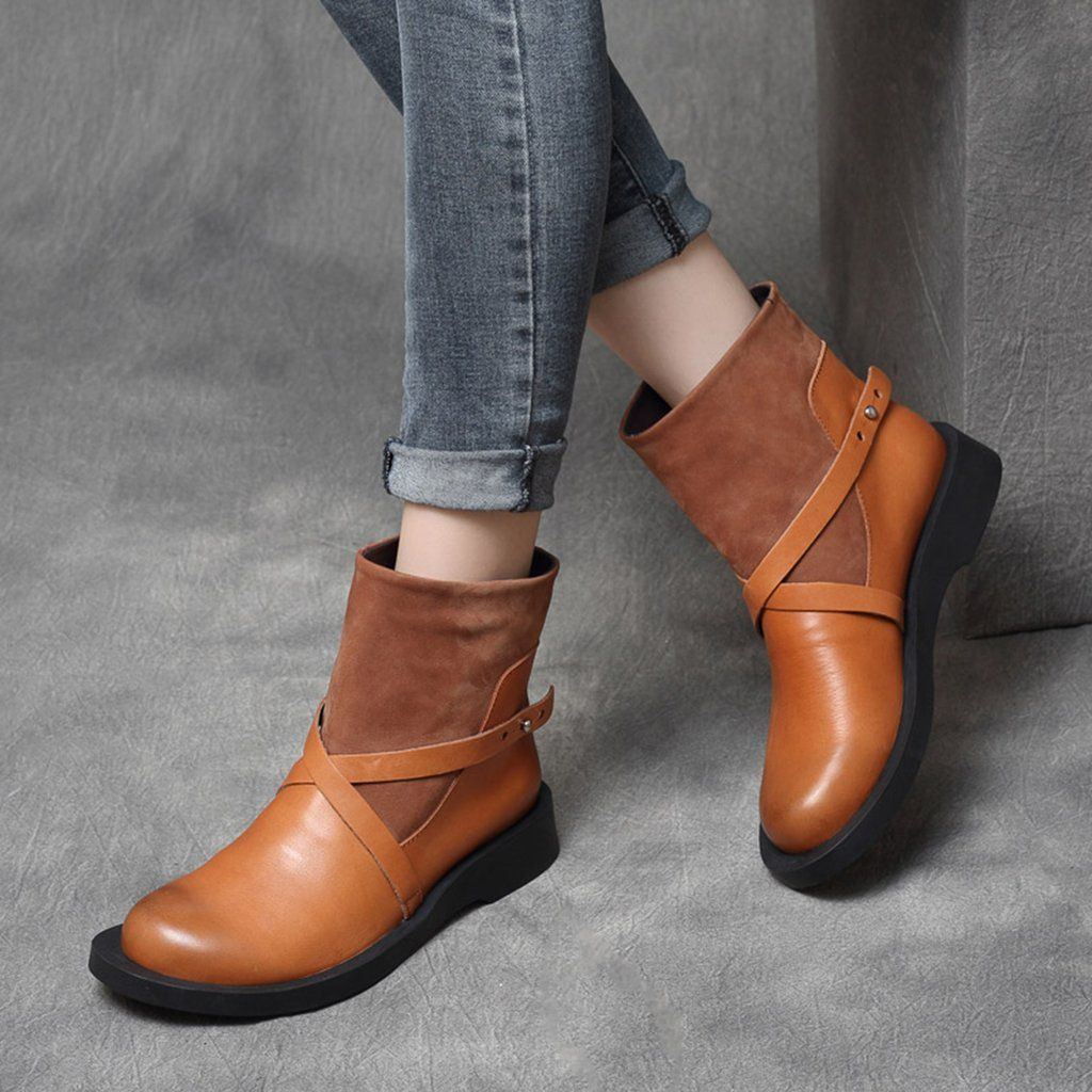 Fashion Front Women Ankle Boots Suede Leather Short