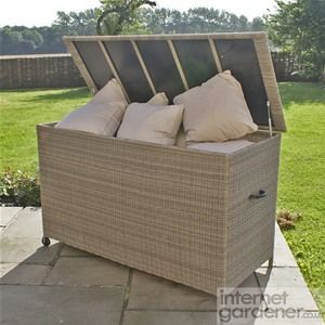 Maze Rattan Winchester Cushion Storage Box Has A Liner To Keep Your Cushions Dry Whilst Also Includ Outdoor Storage Bench Outdoor Storage Patio Cushion Storage