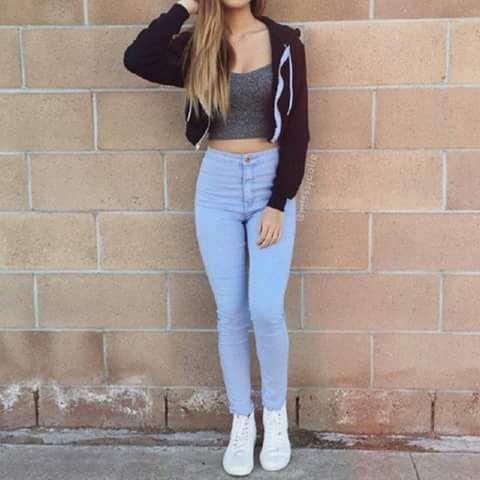 Jeans Tiro Alto Moda De Ropa Pantalon A La Cintura Ropa De Moda