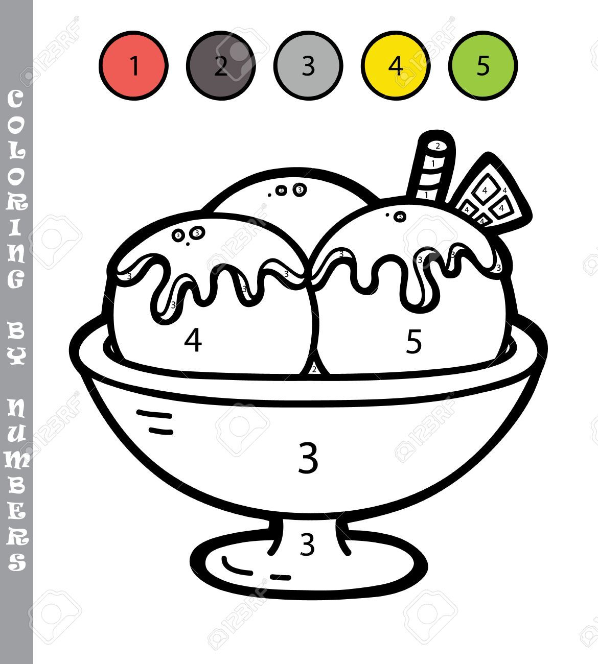 Stock Photo Colorear Por Numeros Dibujos Y Helado Dibujo
