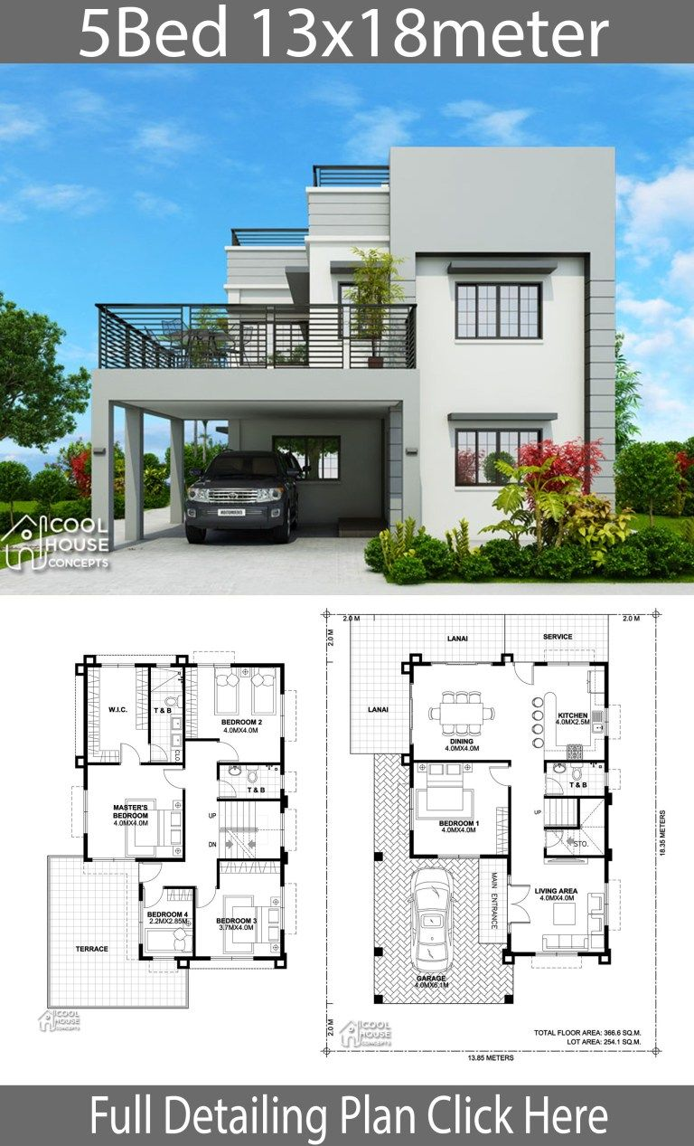 Home Design Plan 13x18m With 5 Bedrooms Home Design With Plan House Construction Plan House Plans Mansion Duplex House Design