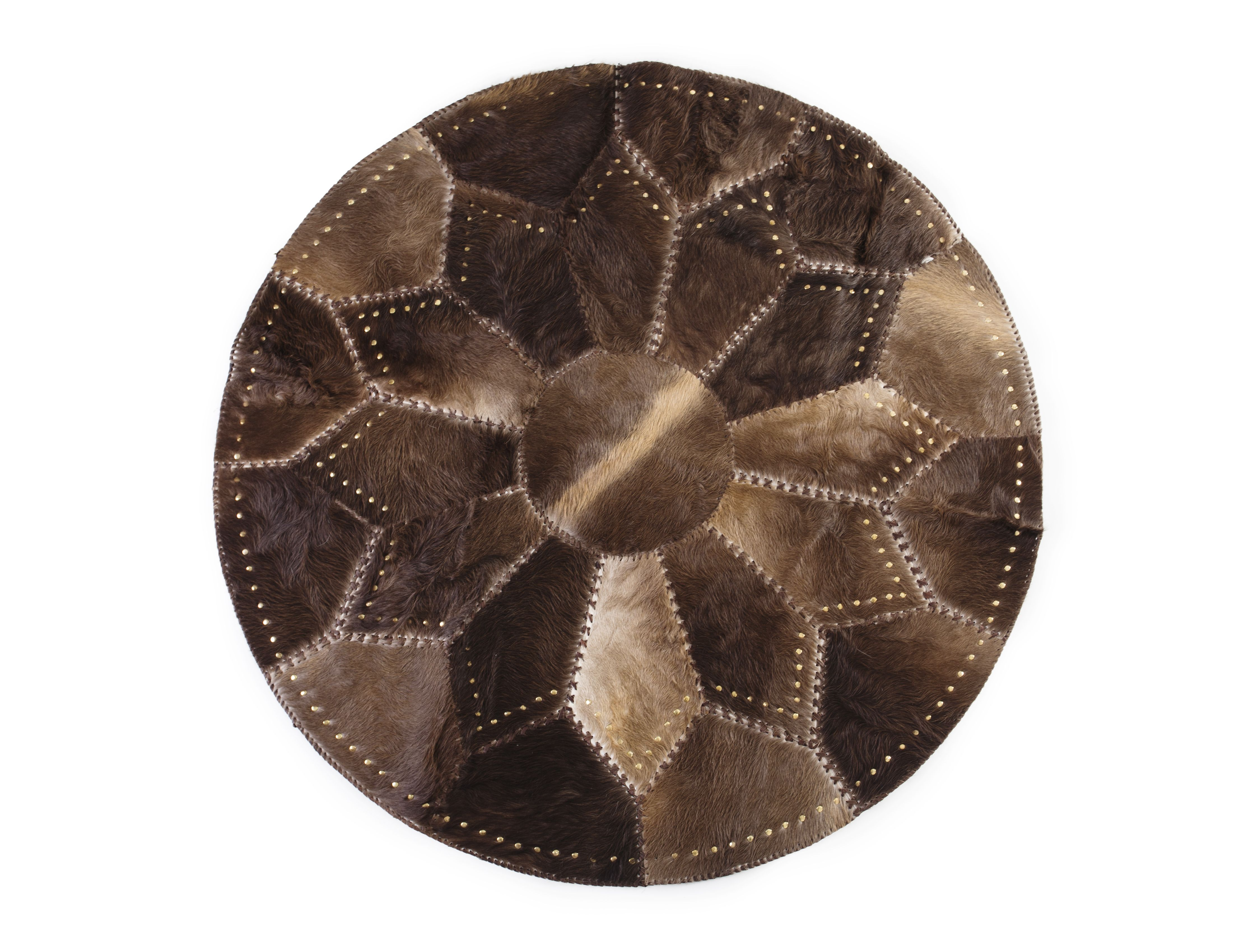 """Round Riveted and Taped Bottom Patchwork Area Rug, Hair-on-Hide, Europe Import, Hand Made, Hand Stitched 5'3"""" x 5'3"""""""