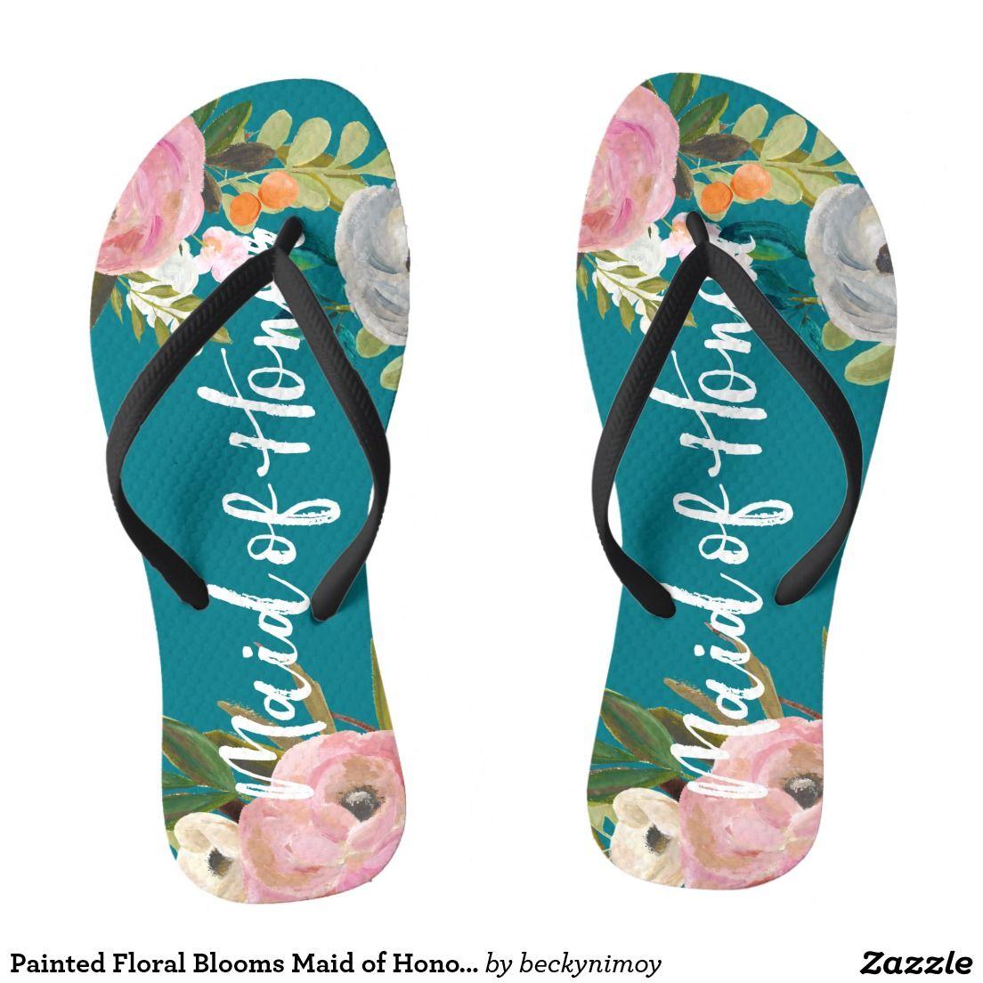 Painted Floral Blooms Maid of Honor Flip Flops
