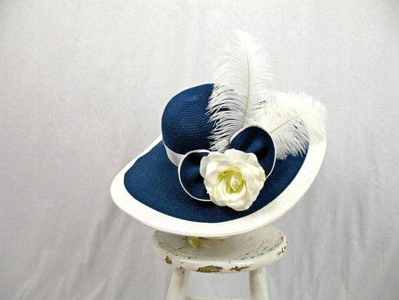 730234db5f9 Navy Blue and White Floppy Hat   Church Hat   Blue Hat   Derby Hat   Blue  Straw Hat   Ascot Hat   Wide Brim Hat