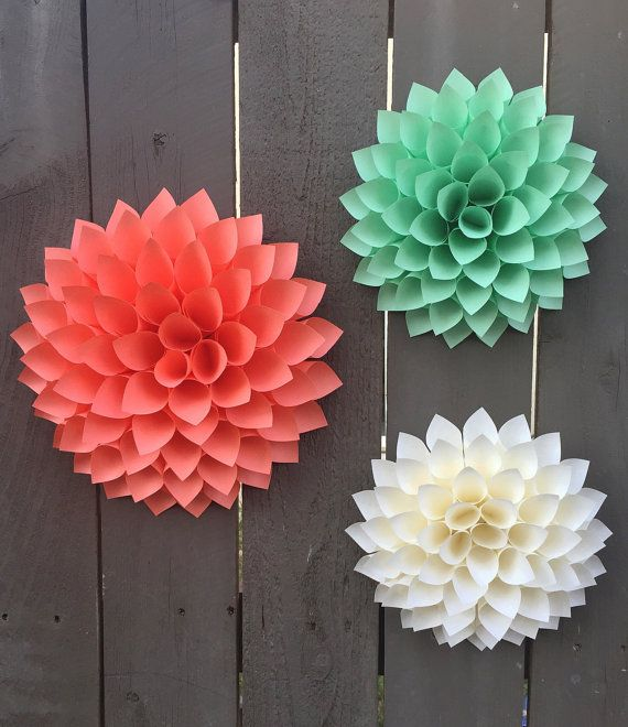 Paper flower dahlias cream coral mint green 3d wall art paper flower dahlias cream coral mint green 3d wall art paper flowers home baby shower weddings your choice of paper colors mightylinksfo