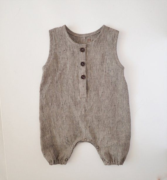 100% Linen Black Striped Baby Romper, Natural Style Toddler Jumpsuit, Overalls