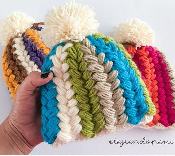 Crochet Puff Stitch Hat Pattern Tutorial Crochet Hatscarf