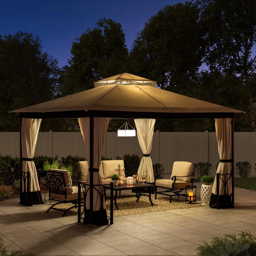 Sunjoy Delaware 10 Ft X 12 Ft Beige And Black Steel Gazebo With 2 Tier Hip Roof A101012400 The Home Depot In 2020 Steel Gazebo Gazebo Patio Gazebo