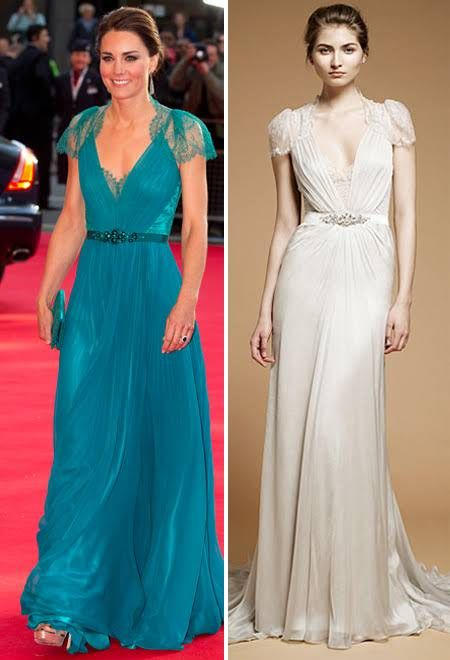 Get the Look: Kate Middleton\'s Green Lace Jenny Packham Gown ...