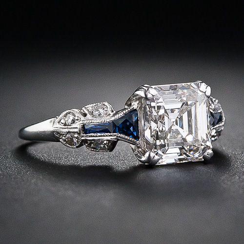 1 75 Carat Asscher Cut Diamond Art Deco Ring 10 1 5326