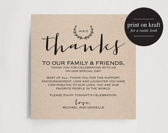 Vintage Wedding Thank You Card Table Thank You Card Wedding Favor Printable Table Thank Y Thank You Card Wording Thank You Card Template Card Table Wedding