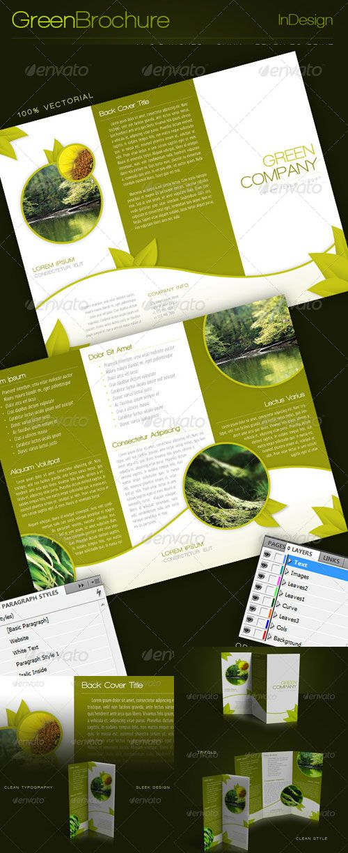 graphicriver green trifold brochure indesign template design