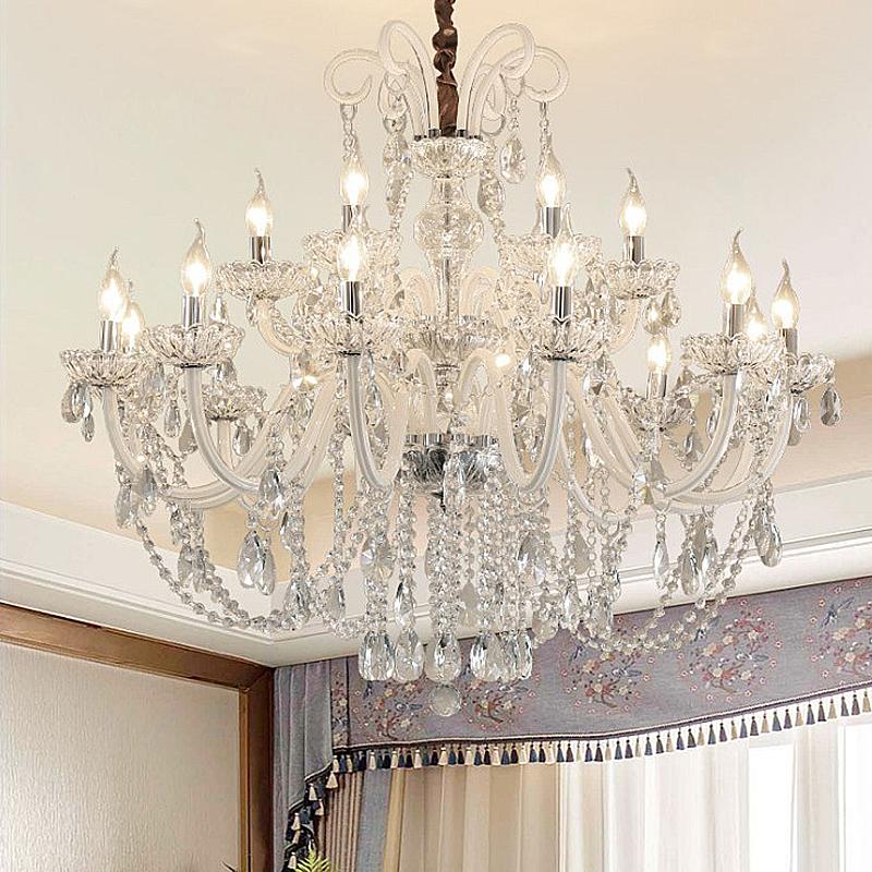 Large European Crystal Chandelier White Pendant Light Living Room Dining Room Kronleuchter Kristall Weisse Hangeleuchte Kronleuchter