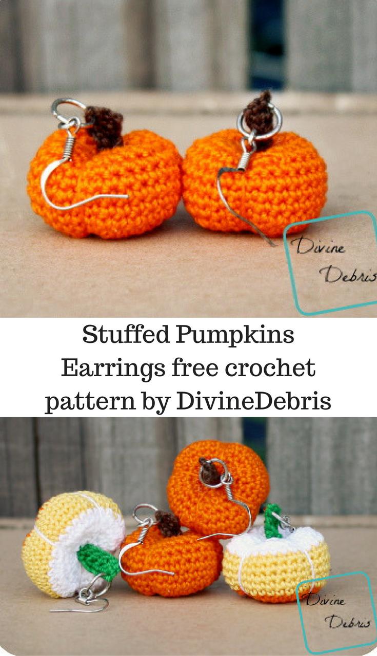 Stuffed Pumpkins Earrings free crochet pattern by DivineDebris ...