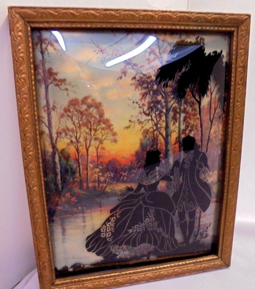 Other Antique Decorative Arts 2 Vintage Silhouette Pictures Convex Glass Reverse Painted