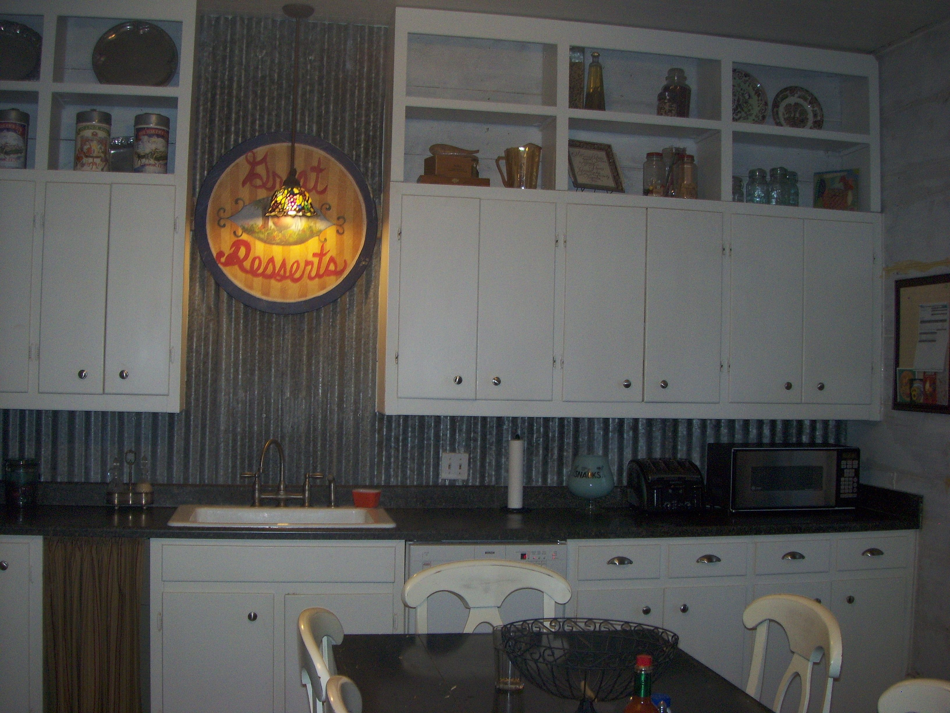 added old barn tin to the backsplash cottonwood farm farm house kitchen - Kitchen Metal Backsplash