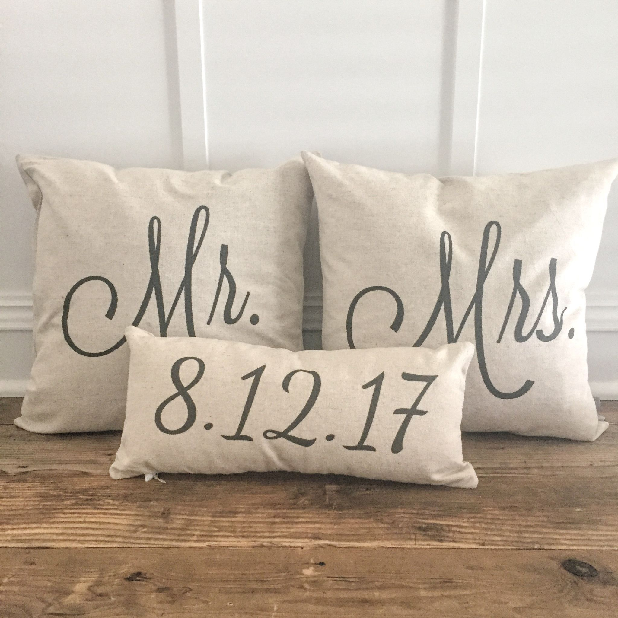 Mr Mrs Pillow Covers With Wedding Date Set Of 3 Pillows
