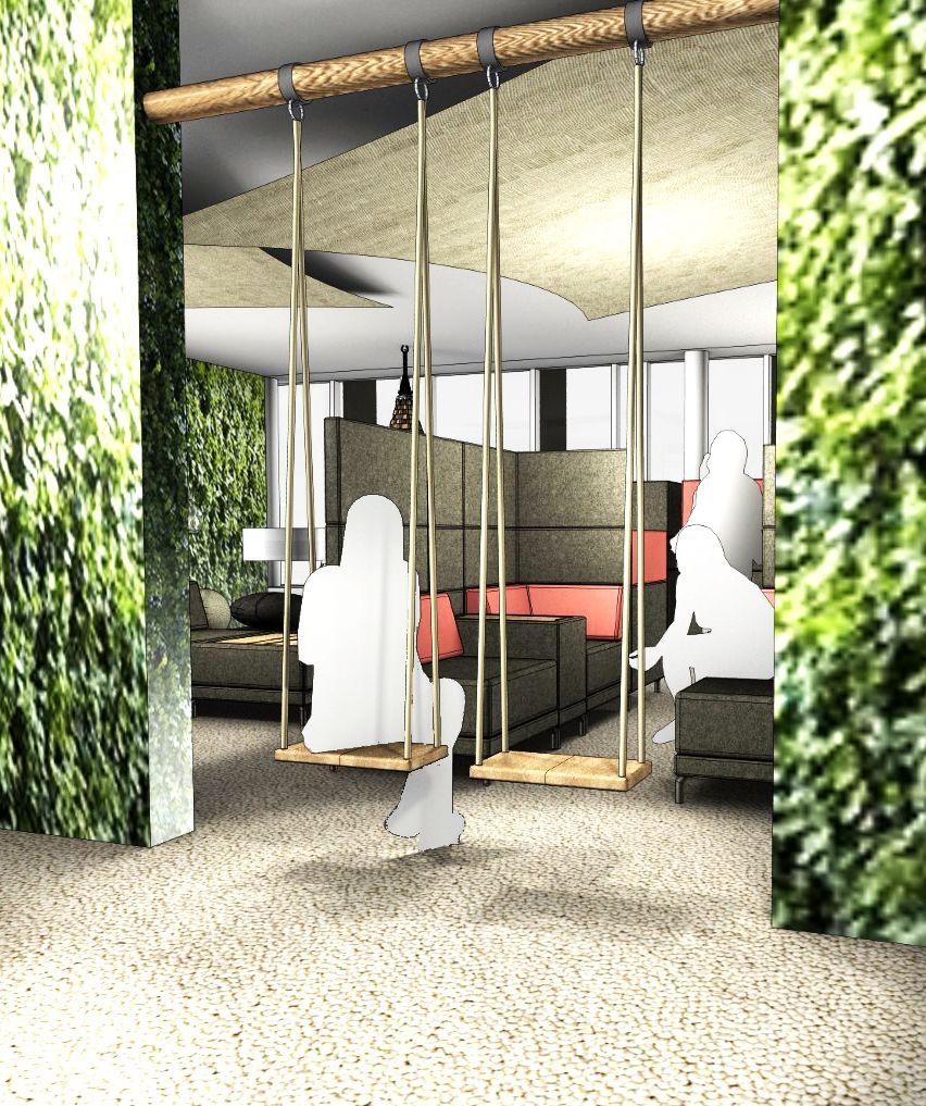b ro einrichten f r kurze entspannungspausen kann eine schaukel im open space b ro wunder. Black Bedroom Furniture Sets. Home Design Ideas