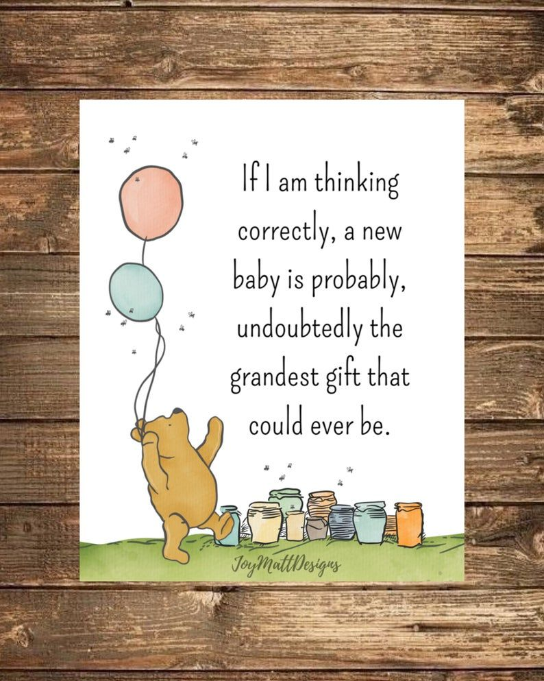 Winnie The Pooh Baby Shower Quotes : winnie, shower, quotes, Winnie, Quote,, Nursery,, Baby,, Shower, Gift,, Classic, Winnie,, Digital, Download,, Printable,, Grandest, Quotes,, Disney, Shower,