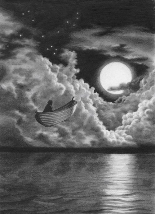Boat sailing in sky amazing pencil drawing