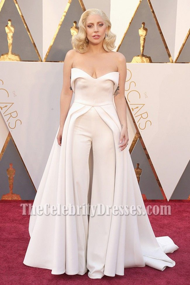 95128f9a118 Lady Gaga Ivory Strapless Backless Formal Jumpsuit Evening Dress Oscars 2016  - TheCelebrityDresses