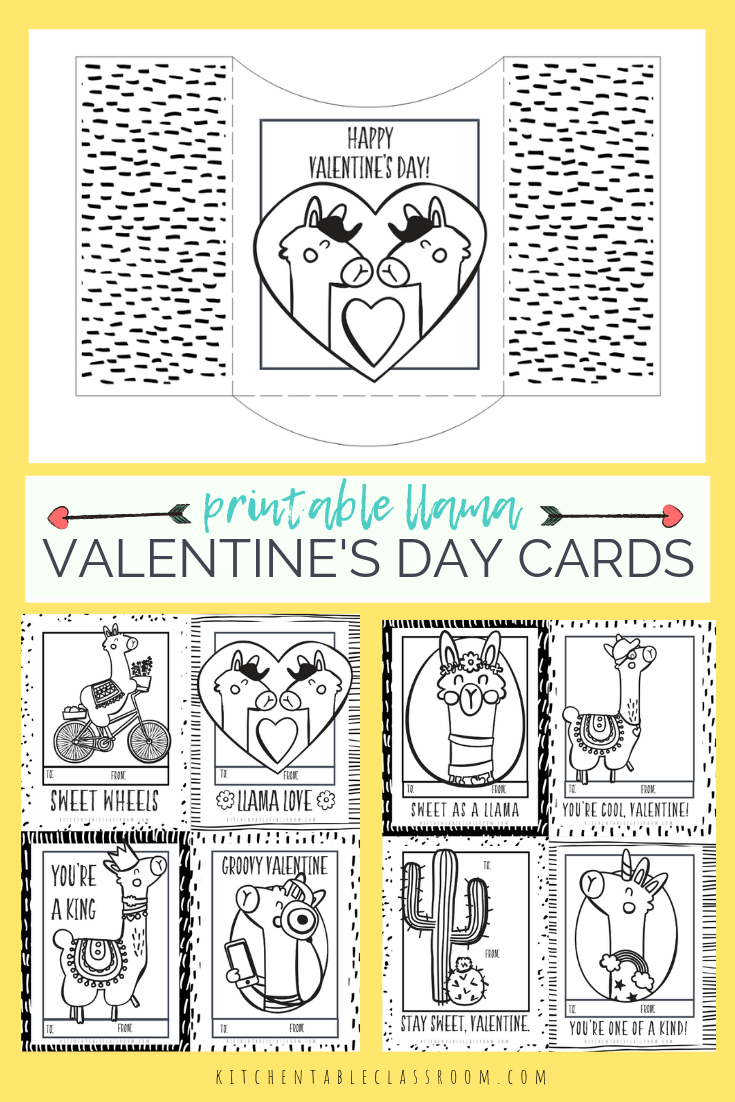 Llama Valentines- Free Printable Valentines Cards to Color ...