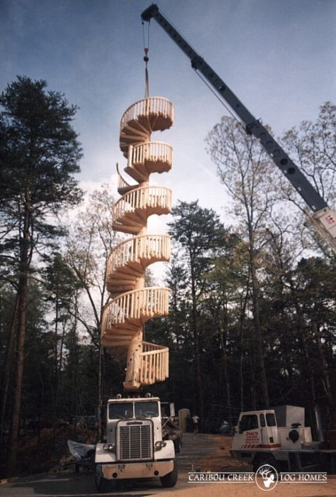 3 story log spiral staircase this one went to a home in for Two story spiral staircase