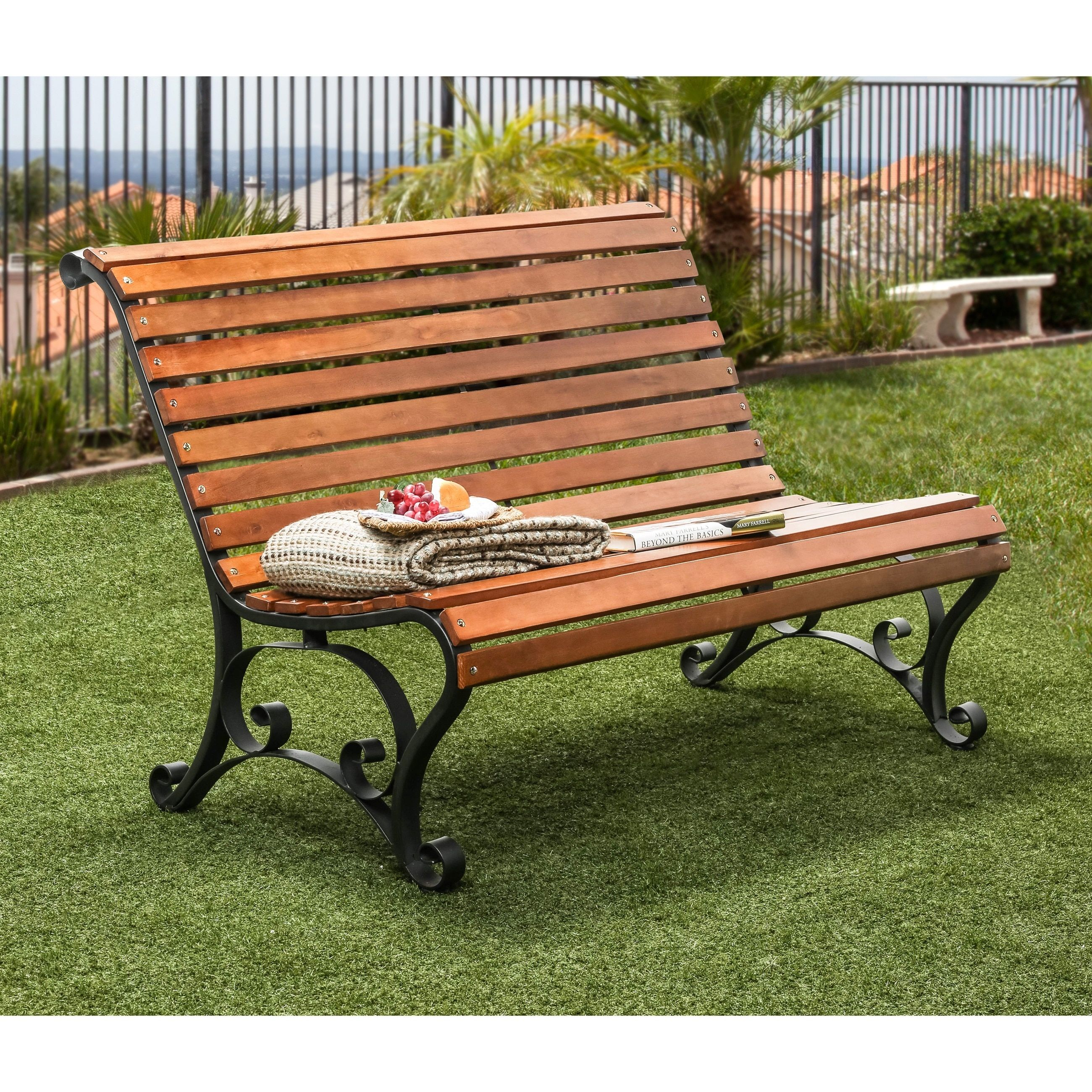 Furniture Of America Ellissa Natural Oak Outdoor Bench Natural