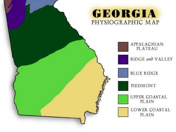 Map Of Georgia Physiographic Regions.The 5 Regions Of Georgia Georgia History Georgia Regions