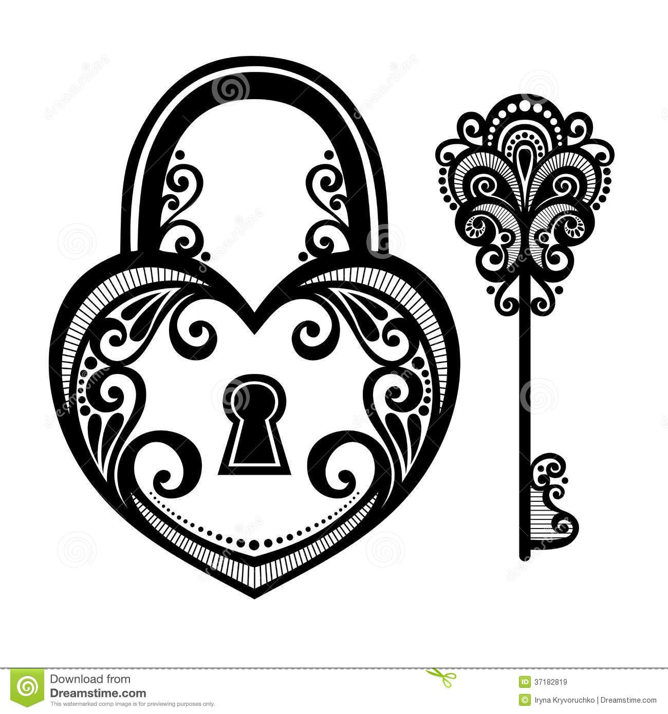 It's just an image of Fabulous Heart Lock And Key Drawing
