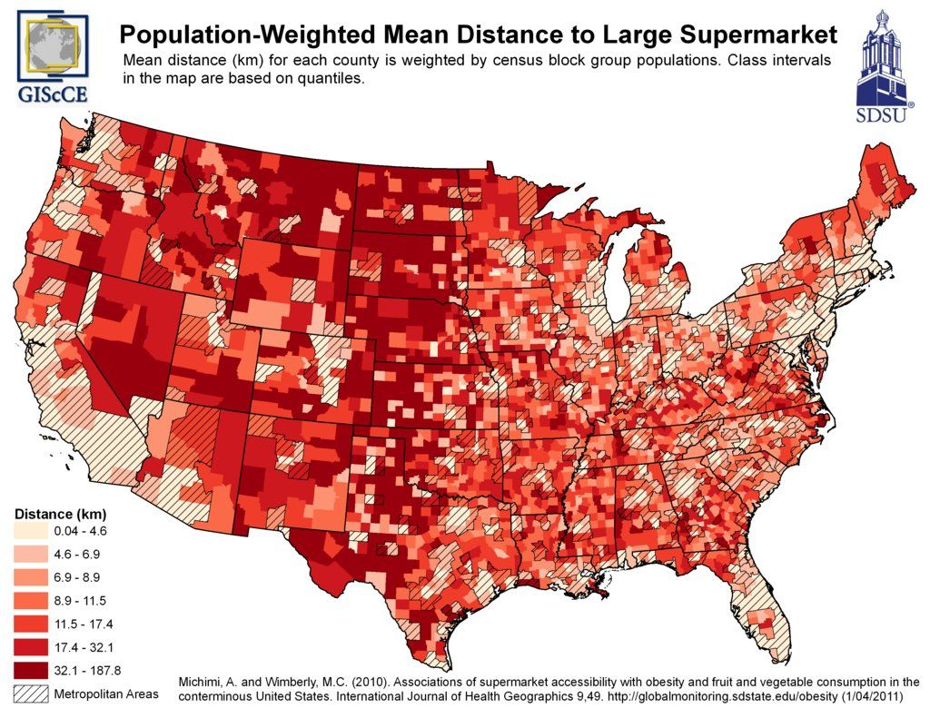 Map of Food Deserts in the USA (Distance to Nearest